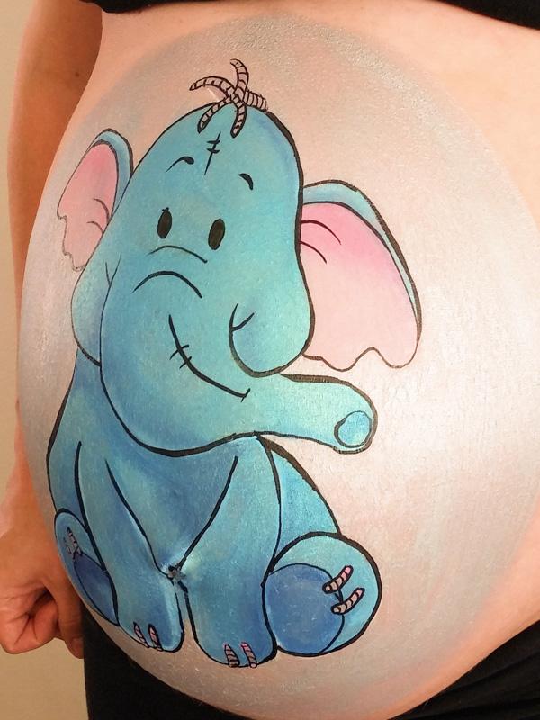 bellypaint buikschildering olifant